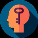 Key inside an outline of a human head