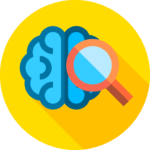 Magnifying glass over a blue brain