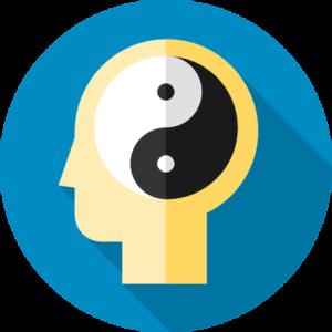 Yellow head with yin-yang