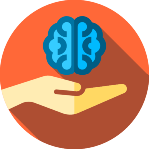 Blue brain above a hand