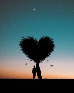 Mann standing under a tree shaped like a heart