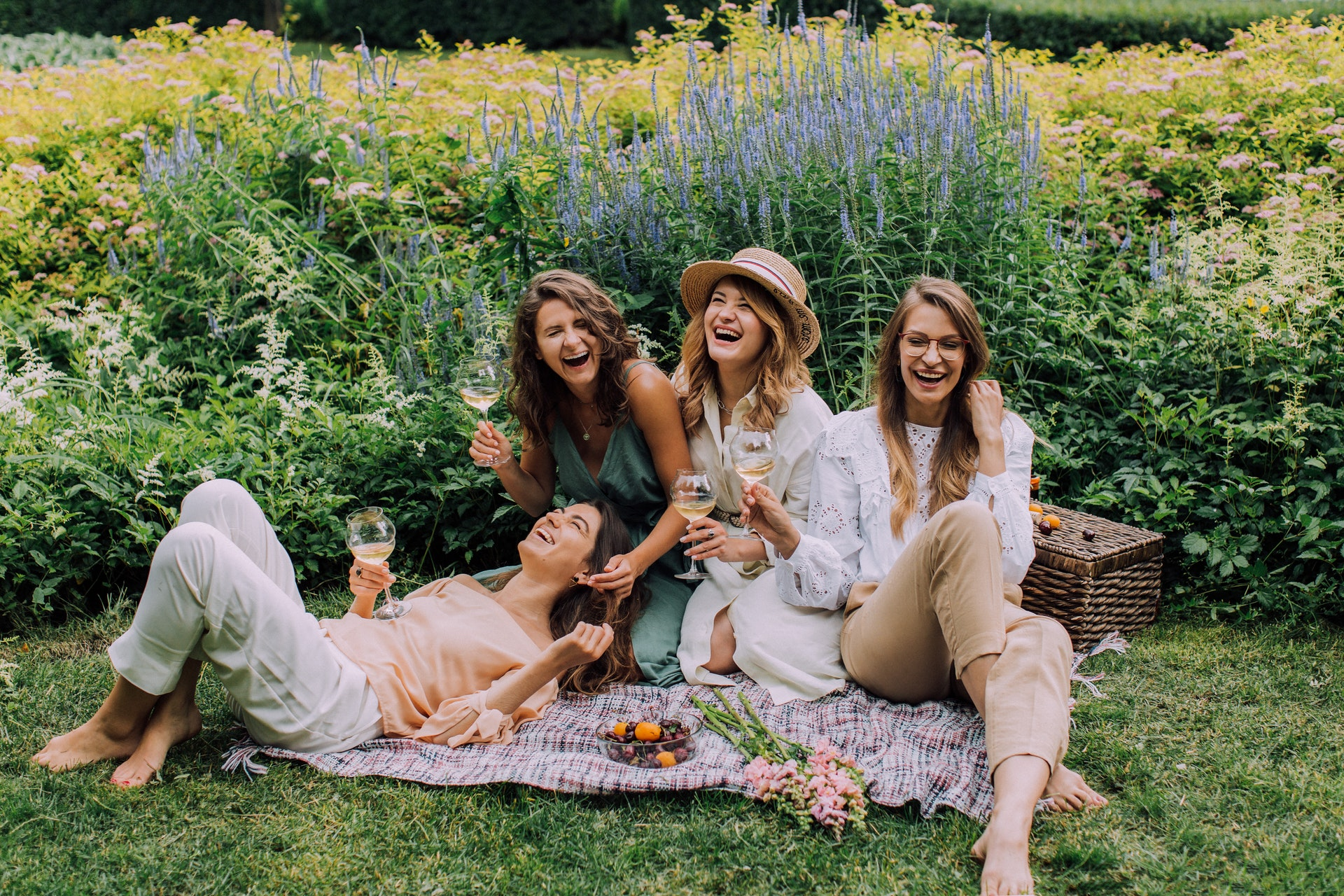 Women laughing at a picnic