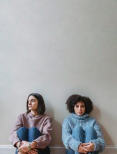 two women upset